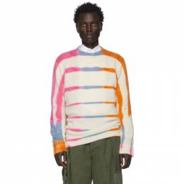 The Elder Statesman Off-White and Pink Cashmere Ladder-Dye Sweater 19154