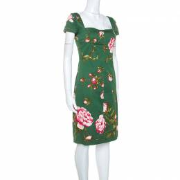 Valentino Green Floral Print Cotton Button Detail Short Dress M 247686