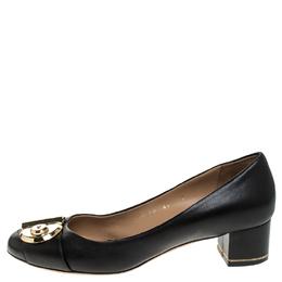 Salvatore Ferragamo Black Leather Fiamma Keyhole Block Heel Pumps Size 40 248038