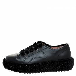 Marco De Vincenzo Black Leather And Velvet Platform Lace Up Low Top Sneakers 41 250222