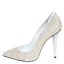Giuseppe Zanotti Design White Leather Studded Pointed Toe Pumps Size 38.5 250212