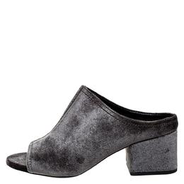3.1 Phillip Lim Green Velvet Cube Open Toe Block Heel Mules Size 36.5 250200