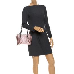 Prada Light Pink/Black Quilted Satin Chain Shoulder Bag 248233