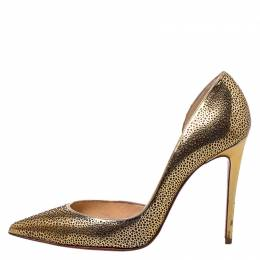 Christian Louboutin Metallic Light Gold Laser Cut Leather and Glitter Galu D'orsay Pointed Toe Pumps Size 37 250621