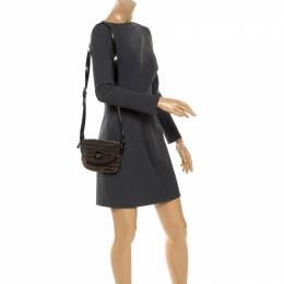 Emporio Armani Black/Gold Signature Print Lame Fabric Flap Crossbody Bag