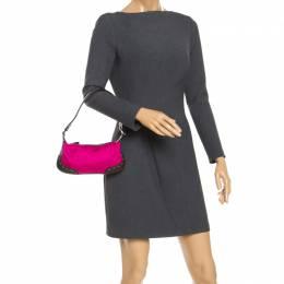 Escada Magenta/Dark Brown Leather and Canvas Small Eluna Shoulder Bag 246667