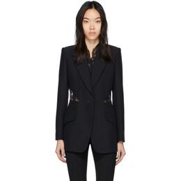 Alexander McQueen Black Lace Crepe Blazer 607334QEAAA