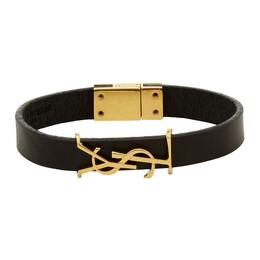 Saint Laurent Black and Gold Leather Opyum Bracelet 559355 0IH0J