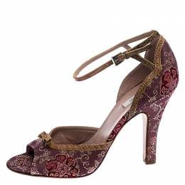 Prada Dark Pink Metallic Paisley Print Fabric and Lizard Trim Bow Open Toe Ankle Strap Sandals Size 38 248620