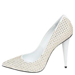 Giuseppe Zanotti Design White Leather Stud Embellished Ester Pointed Toe Pumps Size 39 250359