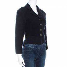 Chanel Navy Blue Boucle Knit Wool Jacket M 250167