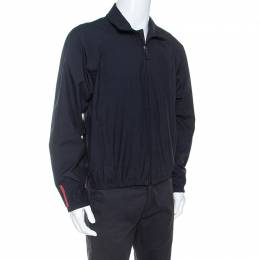 Prada Midnight Blue Zip Front Harrington Jacket L 249996