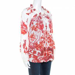 Roberto Cavalli Off White Floral Printed Ruched Detail Shirt S 250126