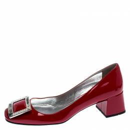 Prada Red Patent Leather Crystal Buckle Block Heel Pumps Size 38 248571