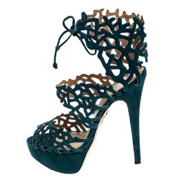 Charlotte Olympia Green Laser Cut Suede Belinda Peep Toe Platform Sandals Size 37.5 249819