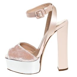 Giuseppe Zanotti Design Beige Satin And Velvet Open Toe Platform Ankle Strap Sandals Size 38 250826
