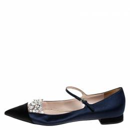 Miu Miu Blue/Black Satin Crystal Embellished Mary Jane Pointed Toe Ballet Flats Size 38.5 249921