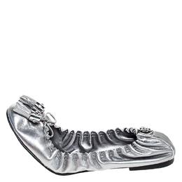 Tory Burch Metallic Silver Leather Tassel Scrunch Ballet Flats Size 39