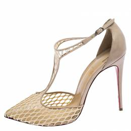 Christian Louboutin Beige Lace Salonu Pointed Toe T Strap Sandals Size 41 248736
