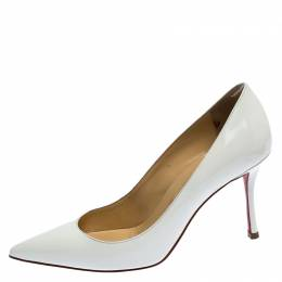 Christian Louboutin White Patent Leather So Kate Pointed Toe Pumps Size 35