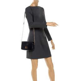 Aigner Dark Blue Patent Leather Flap Shoulder Bag 248086