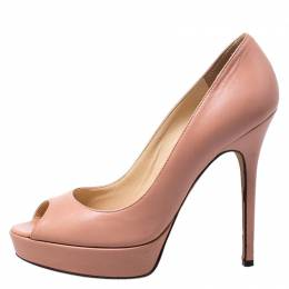Jimmy Choo Light Pink Leather Luna Peep Toe Pumps Size 38