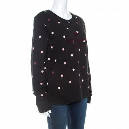Kate Spade Black Jersey Bakery Dot Logo Sweatshirt M 250241