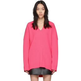 Balenciaga Pink Knit V-Neck Sweater 599834-T1562