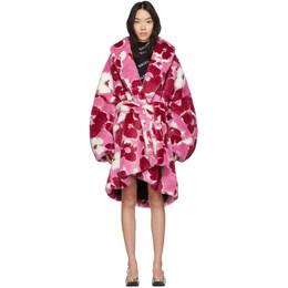 Balenciaga Pink Fluffy Peony Cocoon Wrap Coat 601998-TGQ42