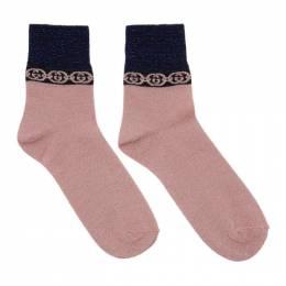 Gucci Pink Interlocking G Socks 609345 3GF05