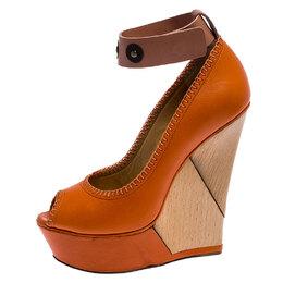 Lanvin Orange Leather Puzzle Peep Toe Platform Ankle Cuff Pumps Size 37 248165