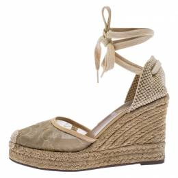 Valentino Beige Lace And Canvas Espadrille Wedges Sandals Size 38
