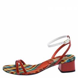 Burberry Two Tone Color Block Leather Anthea Cross Strap Open Toe Sandals Size 38.5 248088