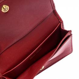 Miu Miu Red Leather Matelassé Leather Flap Compact Wallet 248846