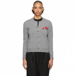 Comme Des Garcons Play Grey Double Heart Cardigan P1N071