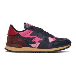 Valentino Navy and Pink Valentino Garavani Camo Rockrunner Sneakers TY2S0723TCC