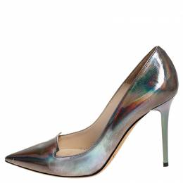 Jimmy Choo Silver Holographic Leather Avril Pointed Toe Pumps Size 35