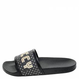 Gucci Black/Gold Coated Canvas Guccy Slip On Slides Size 35