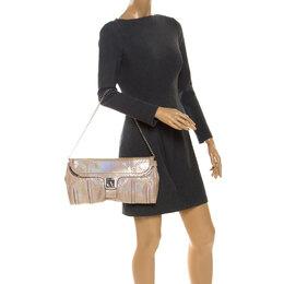 Celine Beige Python Chain Flap Shoulder Bag 249715