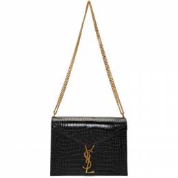 Saint Laurent Black Medium Croc Cassandra Bag 532750 DND3J