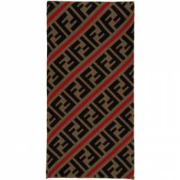 Fendi Red and Brown Wool Forever Fendi Scarf FXS124 AA12