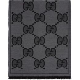 Gucci Black Wool GG Scarf 598189 4G200