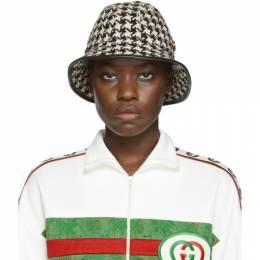 Gucci Black and White Houndstooth Fedora 577731 3HI48
