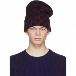 Gucci Navy Wool GG Beanie 597640 4G206