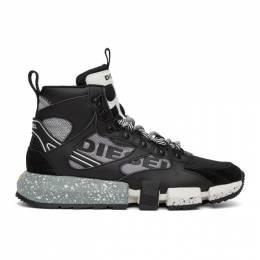 Diesel Black and Grey S-Padola Mid Trek Sneakers Y02113 P2732
