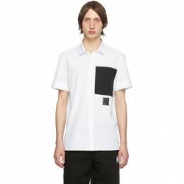 Neil Barrett White Black Pocket Short Sleeve Shirt PBCM 1328B N059C