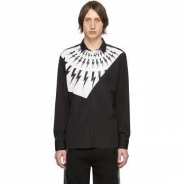 Neil Barrett Black and White Modernist Thunderbolt Shirt PBCM 1287S N000S
