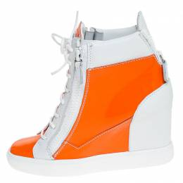 Giuseppe Zanotti Design Orange/White Leather and Patent Leather High Top Wedge Sneakers Size 39