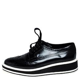 Prada Black Brogue Leather Wingtip Platform Sneakers Size 37.5 251546