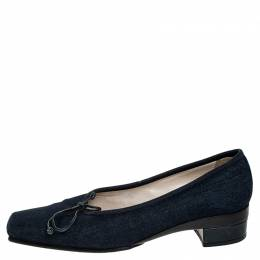 Chanel Blue Denim Fabric Trim Block Heel Bow Detail Pumps Size 41.5 251839